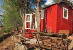 "Luxury Eco Shepherd's Huts near Silves, Algarve. ""The Chapel Hut"". Best Beaches In Europe, Hut House, Tree Tent, Spa Breaks, Rural Retreats, Shepherds Hut, Bell Tent, Round House, Algarve"