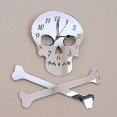 Skull & Crossbones Clock Mirror 35cm x 35cm: Amazon.ca: Home & Kitchen
