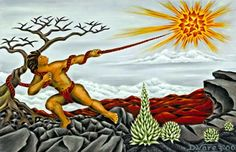 Maui snares the sun, from Polynesian mythology.he was a hero who became god-like or a demi-god. Hawaiian Mythology, Sun Illustration, Illustrations, World Mythology, Giant Fish, Hawaiian Art, Maori Art, Deities, Tahiti