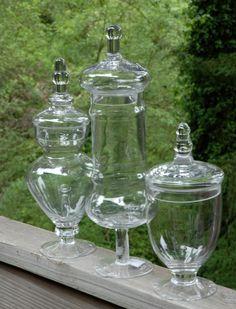 Apothecary Jars Glass (Set of 3)