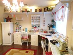Craft and sewing room: like the uplit shelf around the top of the walls and the . - Craft and sewing room: like the uplit shelf around the top of the walls and the chandelier. Sewing Room Organization, Craft Room Storage, Craft Rooms, Storage Ideas, Craft Room Organizing, Storage Shelving, Studio Organization, Organization Ideas, Sewing Spaces