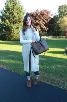 Long Boucle Sweater Cardigan, Boyfriend Jeans, Brown Suede Booties, Brown Tote Bag, Loft, Gap, Rag & Bone, Michael Kors, Louis Vuitton 14