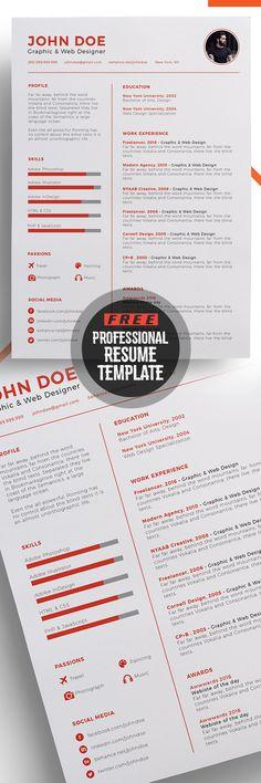 Professional Free Resume Template Design #resumetemplate #minimalresume  #resumedesign #freebie #psdtemplate