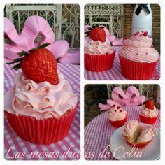 Las mesas dulces de Celia: Receta de Cupcakes de fresas con cava