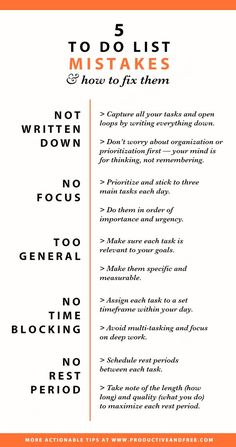 Infographic - To do list mistakes and how to fix them | Productivity | Time management | ProductiveandFree.com