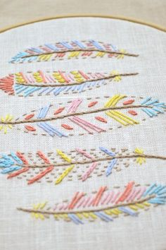 Hand embroidery, Embroidery pattern, embroidery patterns, Embroidery design, feathers, boho, bohemian, nursery, Nursery decor, Boho decor, feather embroidery, Diy gift, nursery wall art