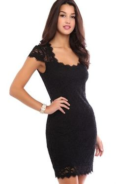 Deb Shops Lace Bodycon Dress with Sheer Illusion Back $27.00