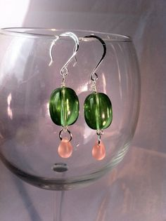 #etsy #jewelry Green Beaded Earrings with Peach Droplet by ConstantlyUnfolding, $4.75