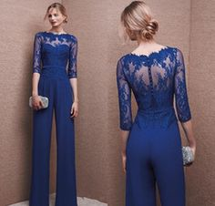 Royal Blue 2017 Plus Size Mother Of Bride Pant Suit 3 4 Lace Sleeve Mother Jumpsuit Chiffon Cocktail Party Evening Dresses Custom Made