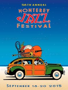 Check out this design by Julie Goonan for the 2015 Monterey Jazz Festival design contest on Creative Allies! Jazz Poster, Blue Poster, Jazz Blues, Blues Music, Jazz Festival, Festival Posters, Vintage Concert Posters, Music Posters, Music Illustration