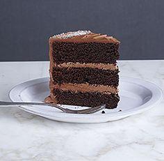 chocolate three-layer cake with  milk chocolate ganache frosting - Fine Cooking