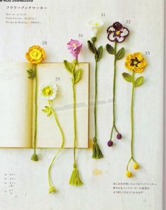 Botanical small crochet with embroidery thread Crochet Girls, Cute Crochet, Crochet Crafts, Yarn Crafts, Crochet Projects, Sewing Crafts, Crotchet, Crochet Bookmark Pattern, Crochet Bookmarks