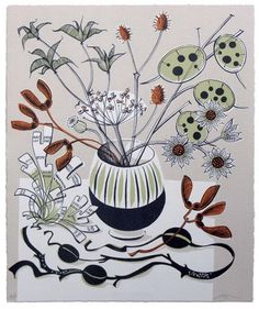 """Any-occasion greetings card illustrated with a linocut of seed pods entitled """"Autumn"""" by Angie Lewin Angie Lewin, Animation, Wood Engraving, Autumn Trees, Botanical Art, Art Paintings, Printmaking, Digital Illustration, Fashion Illustrations"""