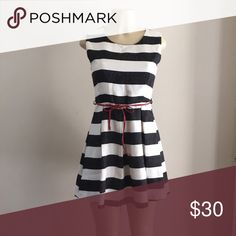 Striped dress Black and cream striped dress with red belt! Dresses Mini