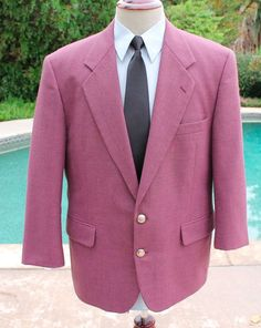 Hardy Amies Blazer Sport Coat 42s Burgundy Gold Button 2 Btn Wool Blend #HardyAmies #TwoButton