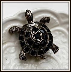 Vintage Black Turtle Brooch by serendipitytreasure on Etsy, $9.99