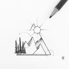 Geometric mountains. #illustration #illustrator #design #sketch #drawing #draw #tattoodesign #tattoo #art #artwork #artist #artistic #instaart #blackwork #blackworkers #iblackwork #dotwork #linework #geometry #mountain #landscape #nature #explore #wanderlust #evasvartur #instafollow #trees #sun #blackandwhite