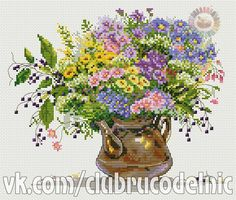 Knitting, crochet, embroidery, sewing and tons of inspiration for your next project. Cross Stitching, Cross Stitch Embroidery, Cross Stitch Patterns, Cross Stitch Landscape, Embroidery Flowers Pattern, Cross Stitch Needles, Flowers For You, Wild Flowers, Cross Stitch Flowers