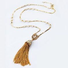 $7.94 Brilliant Diamante Long Tassels Pendant Beaded Sweater Chain Necklace For Women