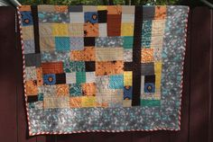 Patchwork Quilt with Vintage Mod Fabric in by QuirkyQuiltress