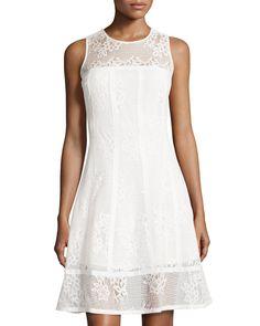 Nanette Nanette Lepore Paneled Lace Princess Dress, Ivory, Women's, Size: 16…