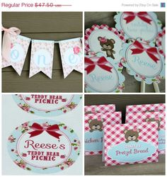SALE Teddy Bear Birthday Party Package - PRINTABLE - Teddy Bear Picnic - Includes Invitation by HandmadePartyCo on Etsy https://www.etsy.com/listing/179889204/sale-teddy-bear-birthday-party-package