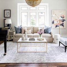 Foothill Drive Project: Formal Living Room Living Room Inspiration: Navy,  Blush And Gold Living Room By Studio McGee