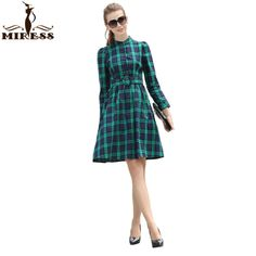 2016 Women Autumn Retro Dresses Audrey Hepburn Blue Plaid Long Sleeve Big Swing 50s 60s Elegant Vintage Party Dresses MIRESS ** Read more at the image link.
