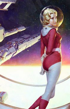 Retro space girl by Zezhou Chen, a Chinese concept artist and illustrator… Science Fiction Kunst, Arte Sci Fi, 70s Sci Fi Art, Space Girl, Vintage Space, Character Design, 3d Character, Character Concept, Concept Art