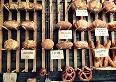 Bread display wall - cooked meat could be displayed like this if preserved well