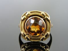 I would love this with a bright purple amethyst or Ceylon sapphire! Outstanding Gold and Citrine Antique Art Nouveau by MSJewelers, $615.00
