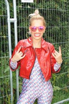 Rita Ora wearing a red leather jacket biker style at #Glastonbury.  #ReplayFestival