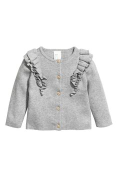Cardigan in soft fine-knit organic cotton with buttons at front and long raglan sleeves. Double layer of ruffles at front and continuing over back of shoulders. Baby Outfits, Little Girl Outfits, Cute Outfits For Kids, Outfits For Teens, Girls Fall Fashion, Spring Fashion Trends, Little Girl Fashion, Fashion Online, Latest Fashion