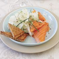 Smoked Salmon with Shaved Fennel, Tarragon Créme Fraiche, and Seven-Grain Toast Points