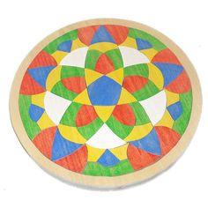 #Wooden Mosaic Starburst Mandala Tray Puzzle