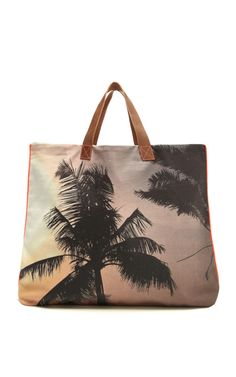Mumbai Palm Canvas Tote by Dezso by Sara Beltran Now Available on Moda Operandi