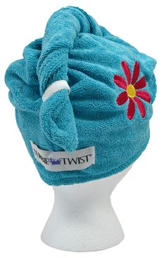 Blue Turbie Twist With Pink Flower