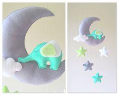 Baby Mobil - Mobile Mond - Mobile Elefant - Krippe Mobile Elefanten - Baby-Mobile-Stars
