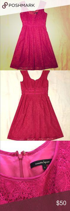 Anthropologie/Nanette Lepore pink lace dress EUC beautiful lace dress! Super figure flattering. Anthropologie Dresses