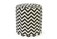 Love this graphic indoor/outdoor pouf