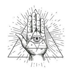 Hipster illustration with sunburst, hand, and all seeing eye symbol nside triangle pyramid. Eye of Providence. Masonic symbol. Grunge Esoteric spiritual ethnic mascot. t-shirt design