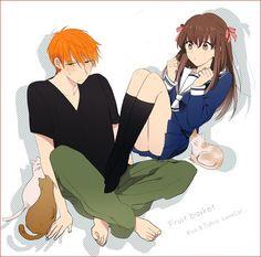 Kyo Sohma and Tohru Honda - Decor Kyo Manga, Manga Anime, Anime Art, Character Drawing, Character Illustration, Fruits Basket Manga, Fruits Basket Cosplay, Kyo And Tohru, Tohru Honda