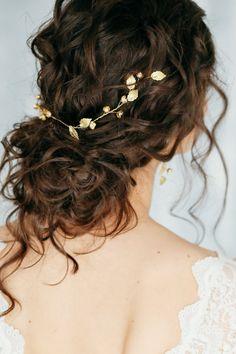 Gold bridal hair piece, Bridal pearl crystal hair comb, bridal hair accessories, Bridal Pearl Hair V - Wedding - Hair Accessories Bridal Hair Half Up, Bridal Hair Vine, Wedding Hair And Makeup, Bridal Comb, Wedding Veils, Bridal Headpieces, Wedding Garters, Bridal Hair Updo Loose, Curly Hair Half Up Half Down