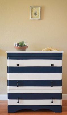{nautical dresser} painted dresser in navy and white stripes Nautical Dresser, Nautical Bedroom, Nautical Home, Nautical Stripes, Navy Stripes, Nautical Drawers, Nautical Interior, Nautical Colors, Navy Blue