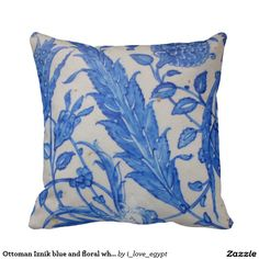 Ottoman Iznik blue and floral white ceramic tile Pillow