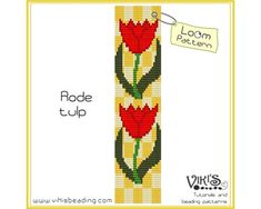 Rode tulp    Loom bracelet pattern made with 11/0 Miyuki delica beads.    Width: 4cm/1.6  Length: 16cm/6.3  Colors: 6  Made for loom - can