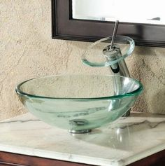 Amazon.com: ELITE Bathroom Clear Glass Vessel Sink & Chrome Waterfall Faucet Combo & Chrome Pop Up Drain Mounting Ring: Home Improvement