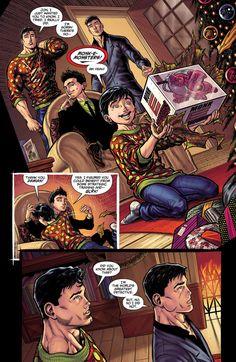 Clark Kent, Bruce Wayne, Jon Kent and Damian Wayne in the DC Rebirth Holiday Special