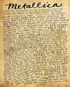 Metallica Lyrics and Quotes - 8x10 handdrawn and handlettered print on antiqued paper rock music lyrics by mollymattin on Etsy