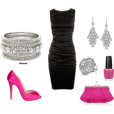 Little black dress with pink accent, created by love-her-style